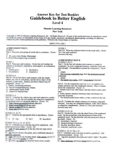 Guidebook to Better English - Level 4 - Test Answer Key