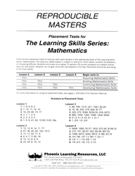 Learning Skills Series: Mathematics - Placement Tests