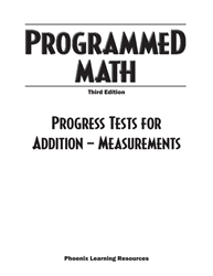 Programmed Math - Progress Tests, Addition - Measurements