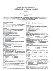 Guidebook to Better English - Level 3 - Test Answer Key